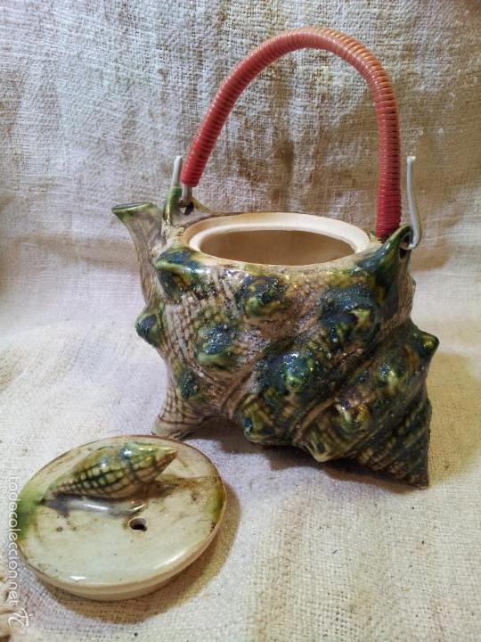 Antigüedades: Original tetera de porcelana, decorada y esmaltada, figurando una concha de caracola, AÑOS 50 JAPON. - Foto 7 - 60797791