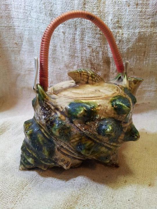Antigüedades: Original tetera de porcelana, decorada y esmaltada, figurando una concha de caracola, AÑOS 50 JAPON. - Foto 9 - 60797791