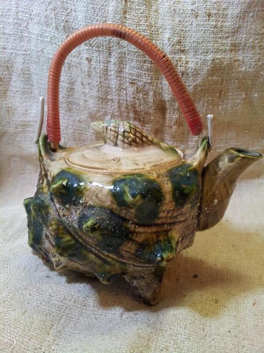 Antigüedades: Original tetera de porcelana, decorada y esmaltada, figurando una concha de caracola, AÑOS 50 JAPON. - Foto 10 - 60797791
