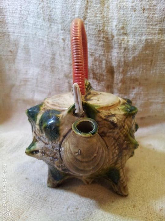 Antigüedades: Original tetera de porcelana, decorada y esmaltada, figurando una concha de caracola, AÑOS 50 JAPON. - Foto 11 - 60797791