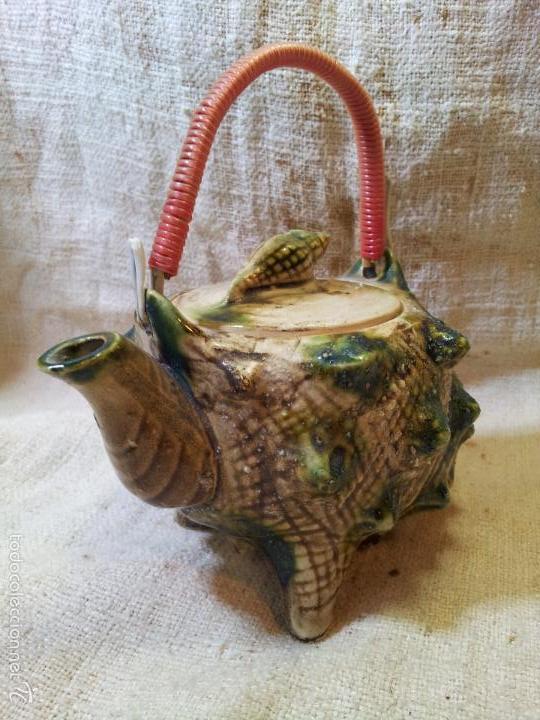 Antigüedades: Original tetera de porcelana, decorada y esmaltada, figurando una concha de caracola, AÑOS 50 JAPON. - Foto 12 - 60797791