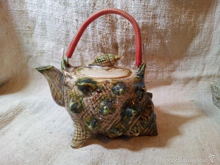 Antigüedades: Original tetera de porcelana, decorada y esmaltada, figurando una concha de caracola, AÑOS 50 JAPON. - Foto 13 - 60797791