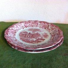 Antigüedades: PAREJA DE PLATOS LLANOS DE LA MARCA PICKMAN DE LA CARTUJA DE SEVILLA. Lote 60847063