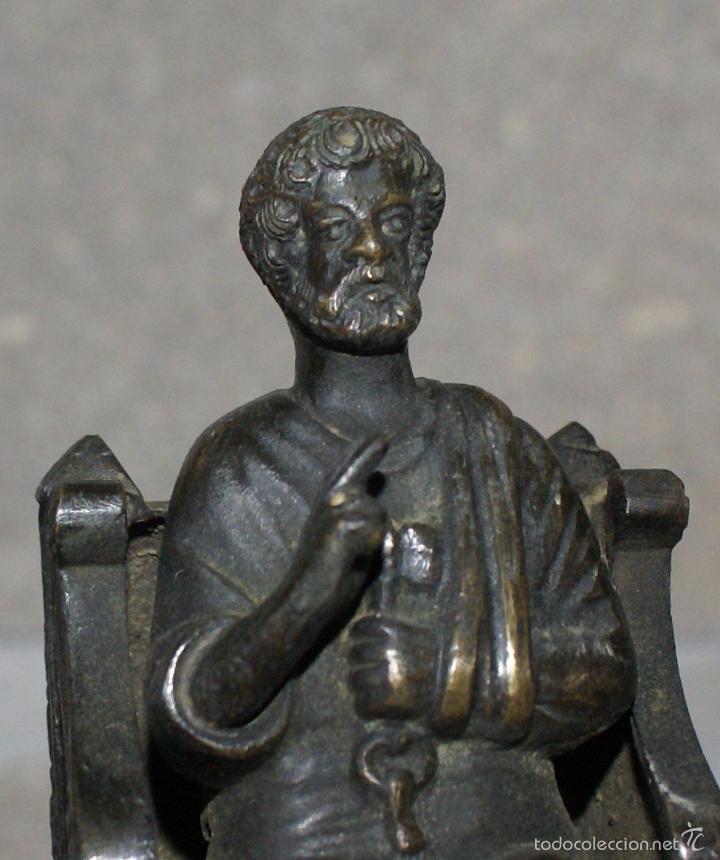 ANTIGUA FIGURA DE BRONCE - SAN PEDRO·SIGLO XIX - EXCEPCIONAL. (Antigüedades - Religiosas - Orfebrería Antigua)