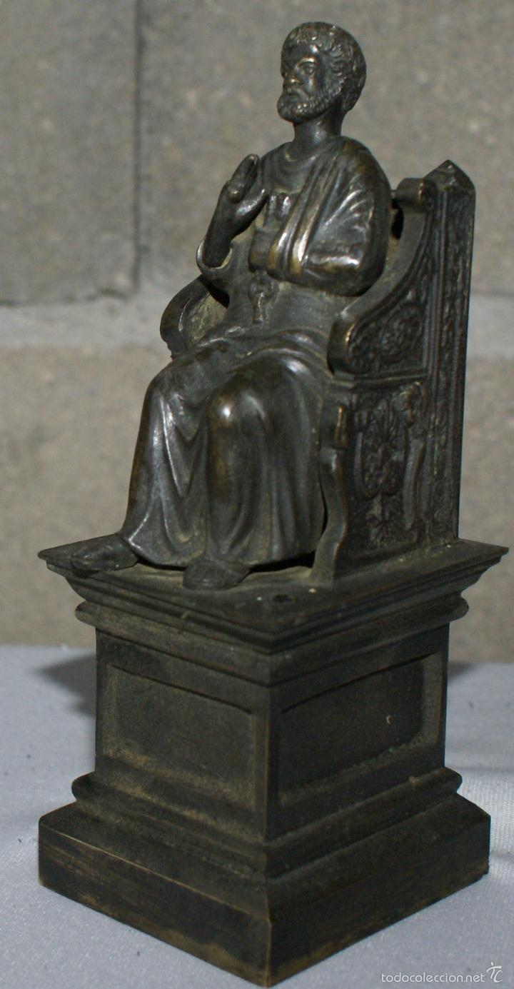 Antigüedades: ANTIGUA FIGURA DE BRONCE - SAN PEDRO·SIGLO XIX - EXCEPCIONAL. - Foto 2 - 60849223
