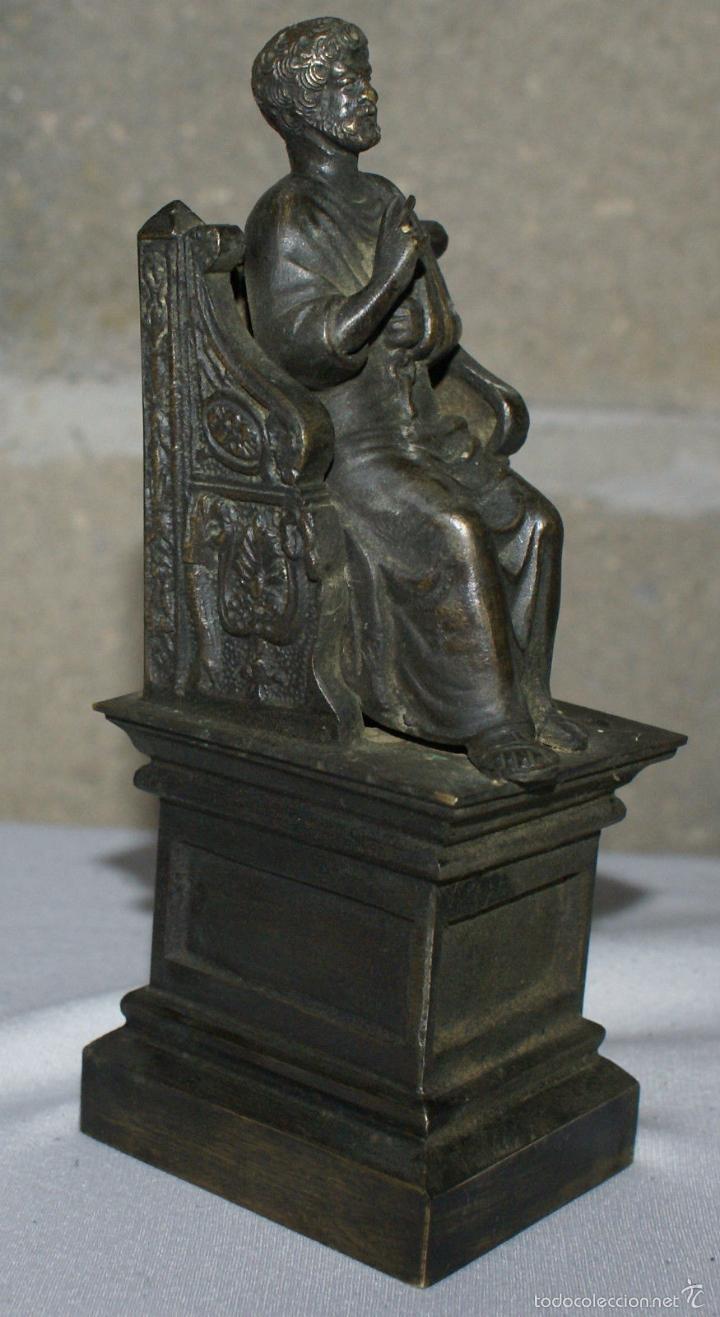 Antigüedades: ANTIGUA FIGURA DE BRONCE - SAN PEDRO·SIGLO XIX - EXCEPCIONAL. - Foto 3 - 60849223