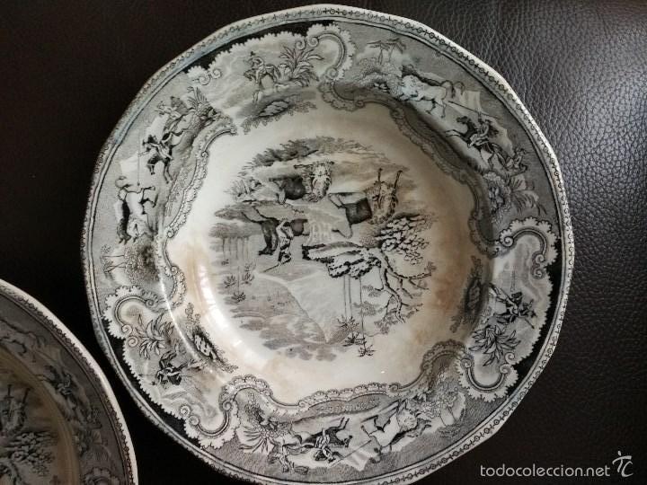 Antigüedades: LOTE 3 PLATOS LA AMISTAD CARTAGENA DOBLE SELLO CAZA DEL BISONTE - Foto 2 - 60873783