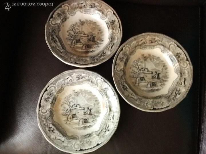 LOTE 3 PLATOS LA AMISTAD CARTAGENA DOBLE SELLO CAZA DEL BISONTE (Antigüedades - Porcelanas y Cerámicas - Cartagena)