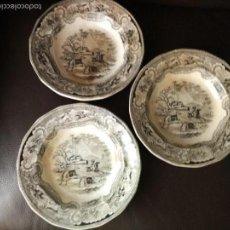 Antigüedades: LOTE 3 PLATOS LA AMISTAD CARTAGENA DOBLE SELLO CAZA DEL BISONTE. Lote 60873783