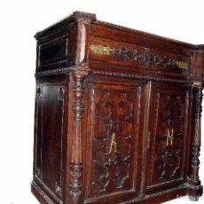 Antigüedades: APARADOR ANTIGUO CON RELIEVES TALLADOS Y MÁRMOL / ENTREDÓS ALFONSINO. Lote 60896519