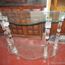 Antigüedades: CONSOLA DE CRISTAL Y METACRILATO. 91 X 29 X 79 CMS. ALTURA.. Lote 60921579