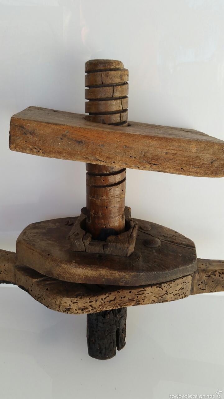 Antigüedades: ANTIGUA PRENSA POSIBLEMENTE VINO. CON TORNILLO SINFIN - Foto 4 - 60939759