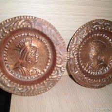 Antigüedades: PLATOS REPUJADOS DE COBRE REYES CATOLICOS. Lote 60945399