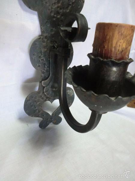 Antigüedades: ANTIGUO APLIQUE DE HIERRO FORJADO ELECTRIFICADO - Foto 5 - 61013395