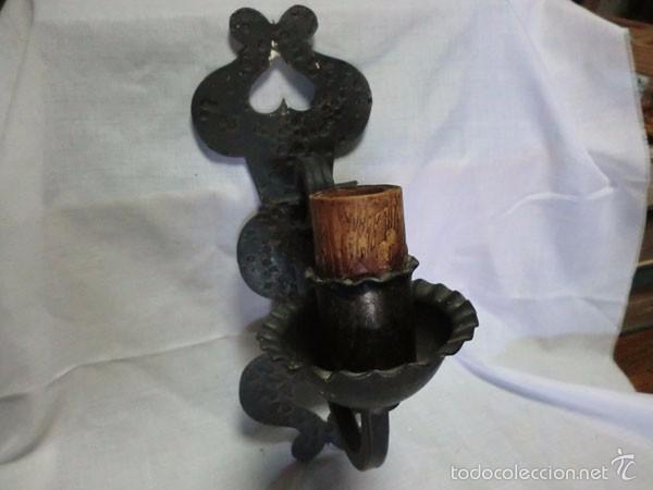 Antigüedades: ANTIGUO APLIQUE DE HIERRO FORJADO ELECTRIFICADO - Foto 8 - 61013395