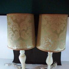 Antigüedades: ANTIGUA PAREJA DE LAMPARAS EN ALABASTRO. CON PANTALLA. Lote 61014079