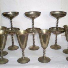Antigüedades: JUEGO 12 COPAS DE LATÓN PLATEADO, 6 COPAS PLANAS Y 6 ALTAS. F.P. BRASS MADE EN SPAIN.. Lote 200361145