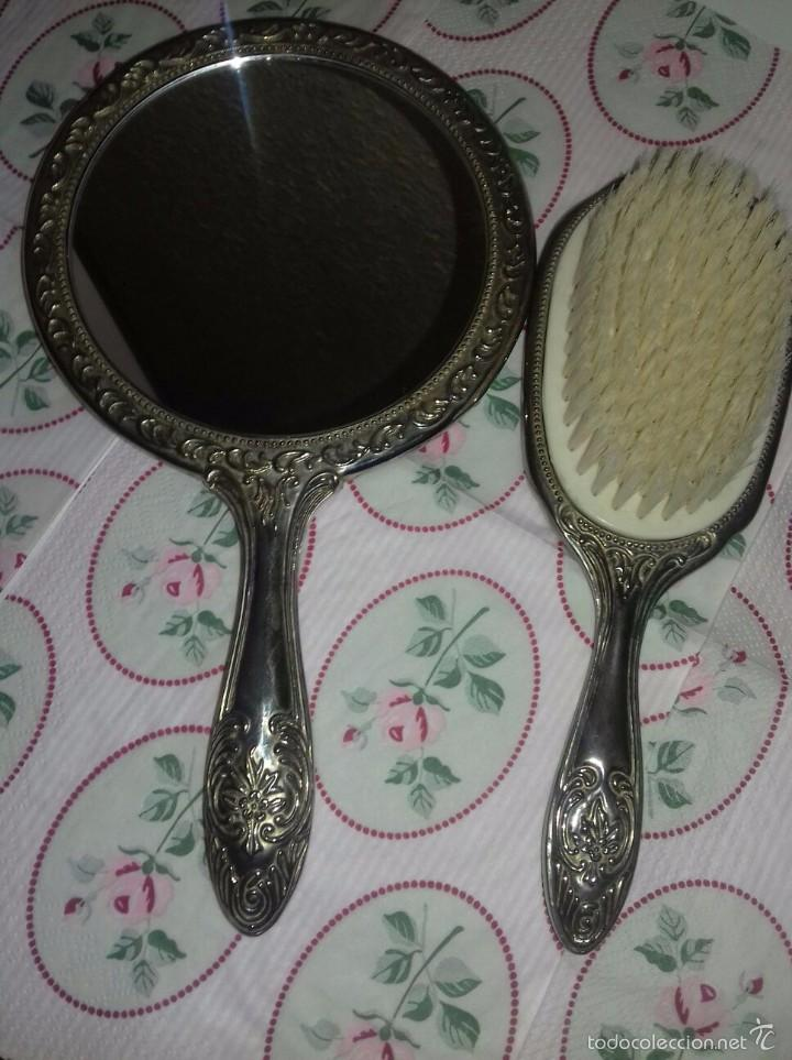Antigüedades: Set tocador espejo y cepillo alpaca - Foto 2 - 85651123