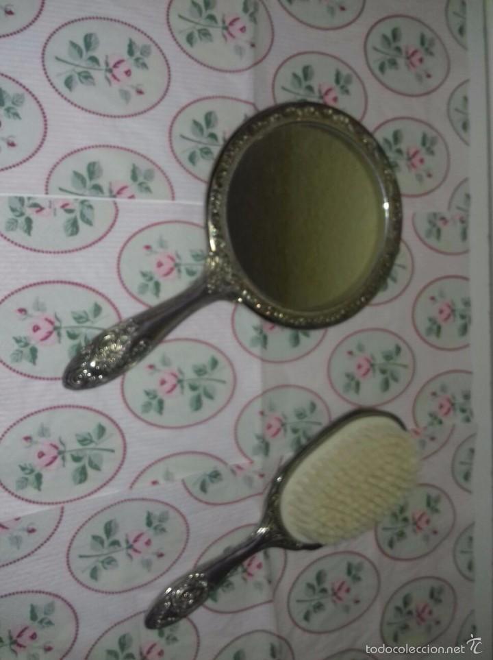 Antigüedades: Set tocador espejo y cepillo alpaca - Foto 4 - 85651123