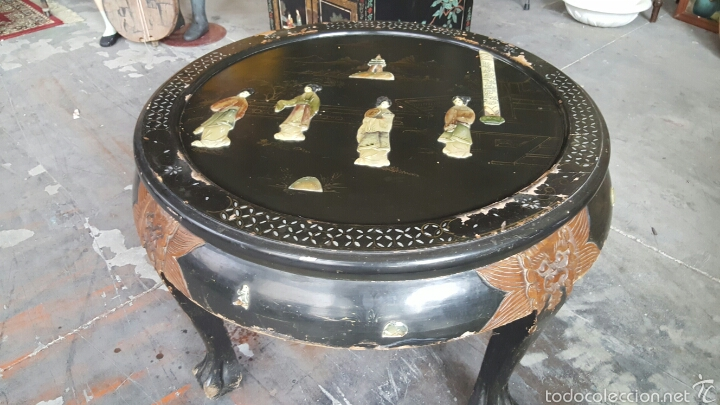 Antigüedades: Antigua mesa baja, china, redonda con incrustaciones. PRECIO 650€ - Foto 10 - 61196345