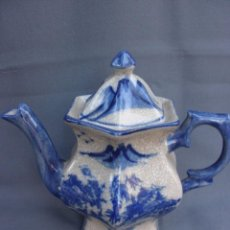 Antigüedades: ANTIGUA TETERA CHINA DE PORCELANA BLUE AND WHITE PORCELANA CRAQUELADA. Lote 61309035