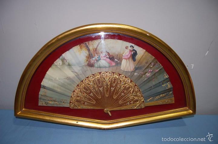 ABANICO DEL SIGLO XIX EN ABANIQUERA MADERA (Antigüedades - Moda - Abanicos Antiguos)