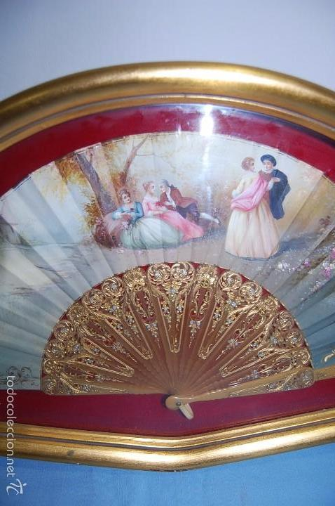 Antigüedades: ABANICO DEL SIGLO XIX EN ABANIQUERA MADERA - Foto 4 - 61318207