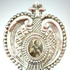 Antigüedades: BENDITERA DE PLATA REPUJADA Y RELICARIO CENTRAL - S. XIX. Lote 61319139