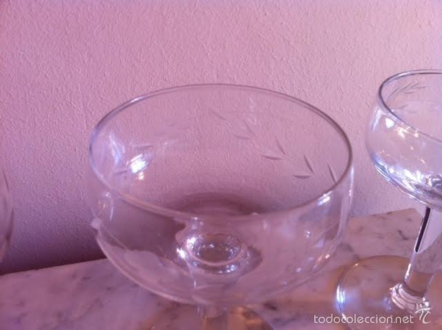 Antigüedades: Seis copas cava champany cristal tallado, sonoro - Foto 3 - 61331295
