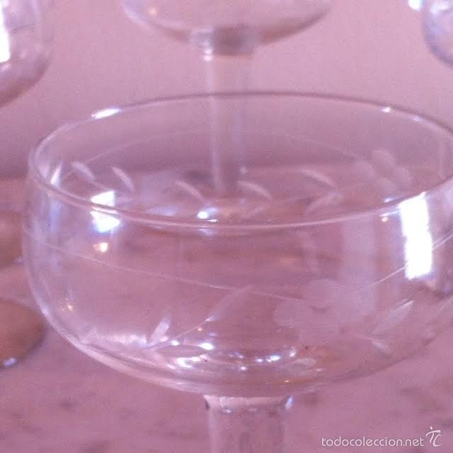 Antigüedades: Seis copas cava champany cristal tallado, sonoro - Foto 4 - 61331295