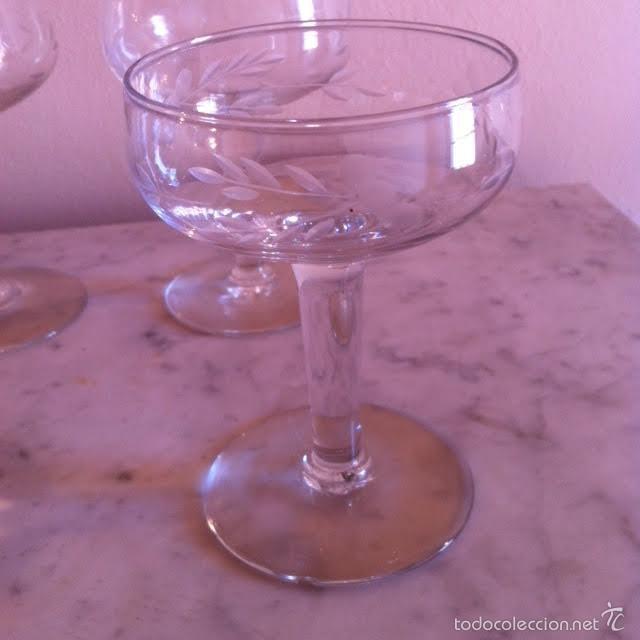 Antigüedades: Seis copas cava champany cristal tallado, sonoro - Foto 6 - 61331295