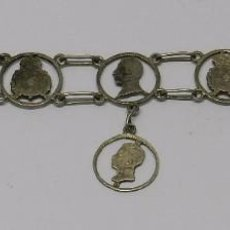 Antigüedades: PULSERA REALIZADA CON 8 MONEDAS DE 50 CENTIMOS DE ALFONSO XIII, PESA 17,82 GR.. Lote 61387703