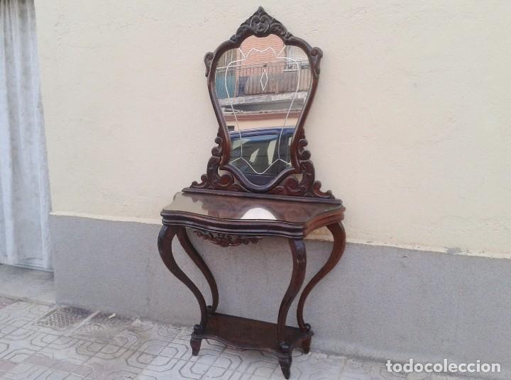 Consola antigua con espejo antiguo mueble auxi comprar - Muebles de entrada vintage ...