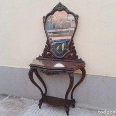 Antigüedades: CONSOLA ANTIGUA CON ESPEJO ANTIGUO, MUEBLE AUXILIAR ANTIGUO RETRO VINTAGE ENTRADA RECIBIDOR. Lote 61477943