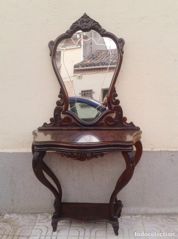 Consola antigua con espejo antiguo mueble auxi comprar for Consolas antiguas muebles