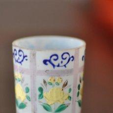 Antigüedades: VASO DE CRISTAL DE LA GRANJA , PINTADO A MANO 6,5 X 4,6 CM.. Lote 61480979