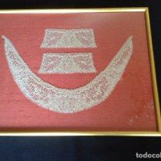 Antigüedades: CUELLO Y PUÑOS 1900 ENMARCADOS. Lote 61504543