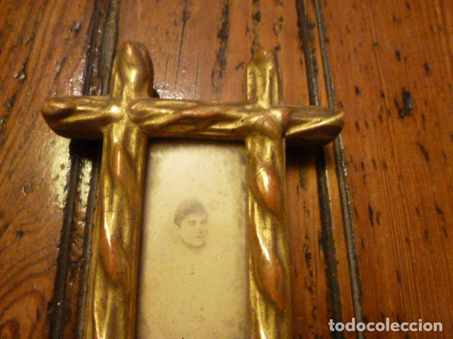 Antigüedades: MARCO DORADO CRUCERO CON FOTO - Foto 2 - 61539988