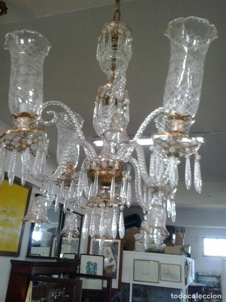 ARAÑA DE CRISTAL HECHA A MANO. PPIOS. S. XX (Antigüedades - Iluminación - Lámparas Antiguas)