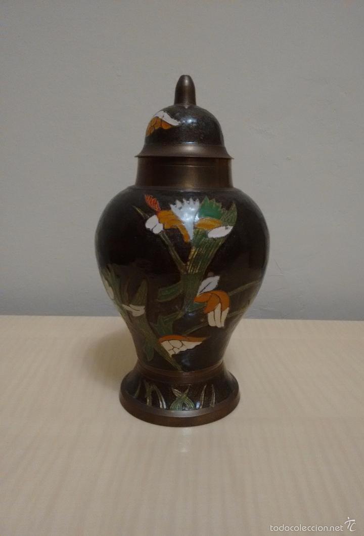 JARRÓN DE METAL ESMALTADO CLOISONNE (Antigüedades - Hogar y Decoración - Jarrones Antiguos)