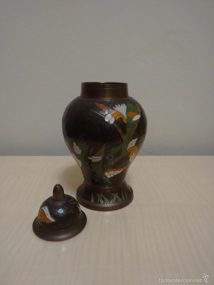 Antigüedades: Jarrón de metal esmaltado cloisonne - Foto 2 - 61626296