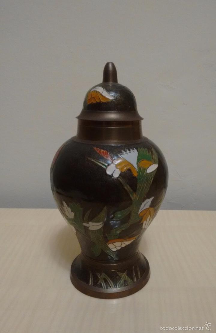 Antigüedades: Jarrón de metal esmaltado cloisonne - Foto 3 - 61626296