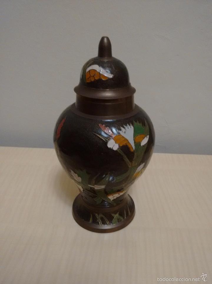 Antigüedades: Jarrón de metal esmaltado cloisonne - Foto 4 - 61626296