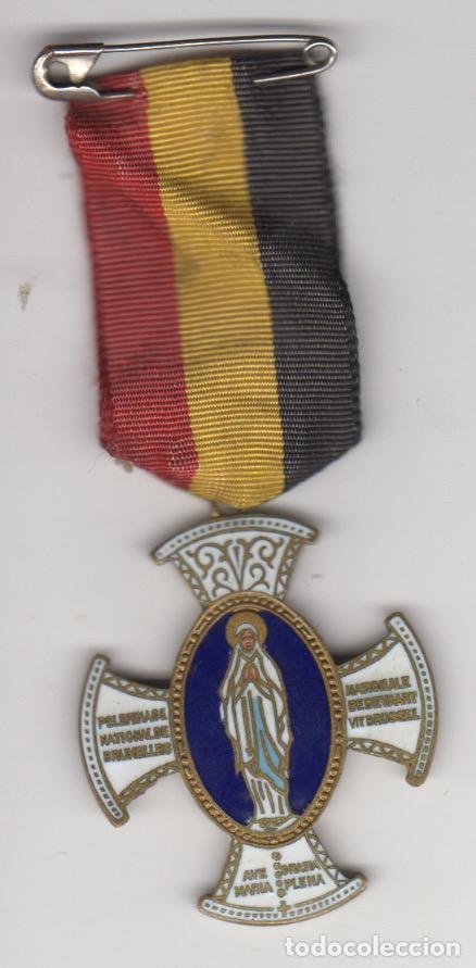 CRUZ ESMALTADA PEREGRINACION NACIONAL DE BRUSELAS - PELEGRINAGE NATIONAL DE BRUXELLES - AVE GRATIA (Antigüedades - Religiosas - Cruces Antiguas)