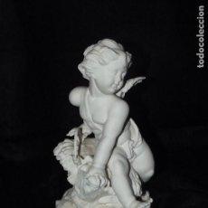 Antigüedades: ANGEL EN BISCUIT DE AUTÉNTICA PORCELANA ALGORA DOCUMENTADA. MUY POCO FRECUENTE EN PERFECTO ESTADO.. Lote 61642284