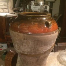Antigüedades: ANTIGUA JARRA / ORZA DE CERAMICA CATALANA DEL SIGLO XIX CON ASAS Y VIDRIADO. Lote 61675908