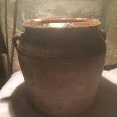 Antigüedades: ANTIGUA JARRA / ORZA / BOTE DE CERAMICA CATALANA DEL SIGLO XIX CON ASAS Y VIDRIADO. Lote 61676584