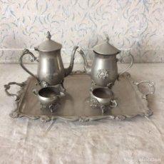 Antigüedades: PRECIOSO JUEGO DE CAFÉ O TÉ EN ALPACA. Lote 61846292