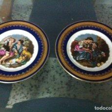 Antigüedades: PAREJA DE PLATO LIMOGE ANTIGUO. Lote 199490252