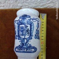 Antigüedades: ALBARELO BOTE FARMACIA TOTHEPAL, CERÁMICA ESMALTADA Y PINTADA SOBRECUBIERTA EN AZUL DE TALAVERA. Lote 61866508